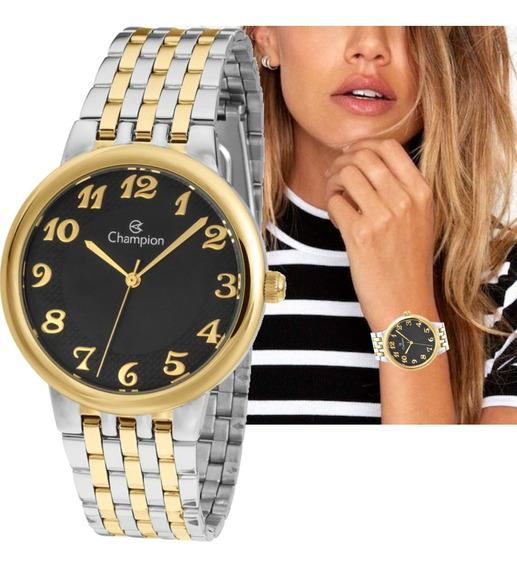Relógio Feminino Champion Prateado Com Dourado Cn20453p