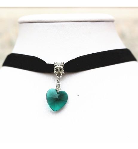 Collar Gargantilla Choker Corazón Verde Oscuro Regalo G-037