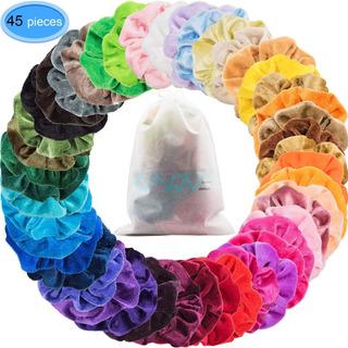 Eaone 45 Colors Hair Scrunchies Velvet Elastic Hair Ties Scr