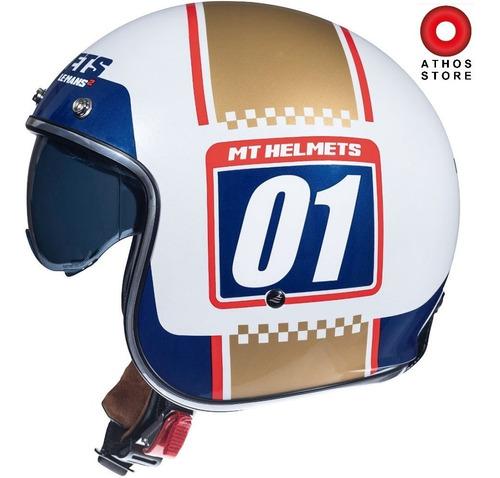 Casco Mt Helmets Le Mans Platenamber White Y Blue Brilloso