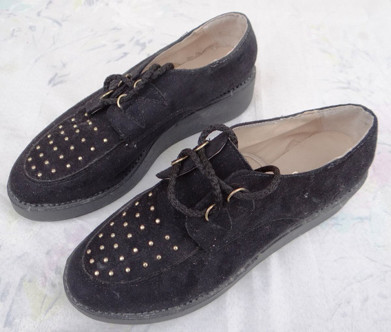 Zapatos De Horma Ancha De Gamuza Negra