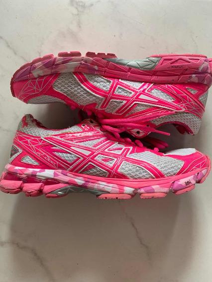 Zapatillas Asics Usadas Impecables Rosa Talle 37.5 - 23.5 Cm