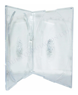 Pack 10 Cajas Cd Slim Doble Transparente 5mm Caja Premium