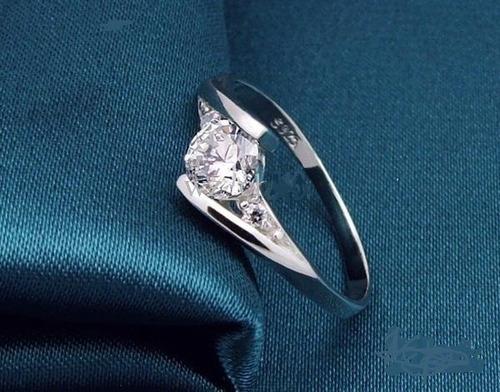 Anillo De Plata 925 Con Diamantes Suizos
