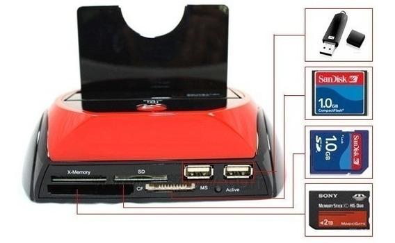 Hub Gavetas Portas Usb Leitor Cartão Micro Sd Hd Universal