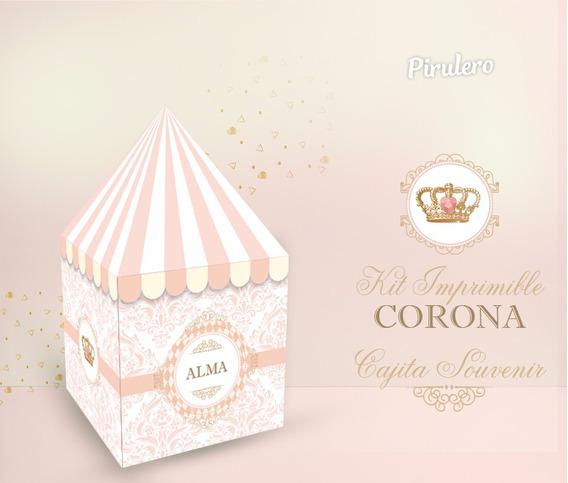 Kit Imprimible Corona Coronita Princesa Reina Rosa Dorado