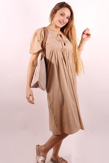 Vestido Informal Largo Importado 100% Algodón Bordado #60394