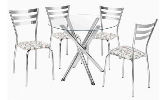 Conjunto De Mesa Redonda 90cm Com 04 Cadeiras Marisa