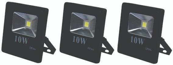 Kit Com 03 Refletor Led 10w 6000k Bivolt Ip67