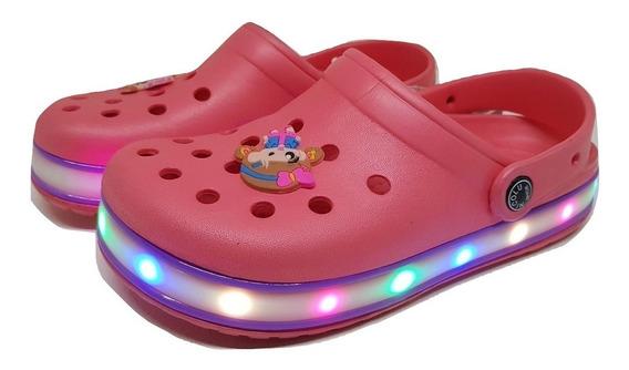 Suecos Ojotas De Goma Nenas/niños Unixes Con Luces Led
