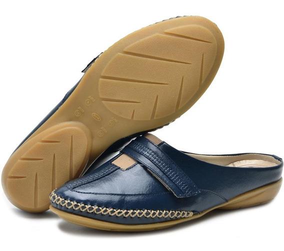 Sapato Mule Babuche Feminino Salto Baixo Em Couro Linha Conforto