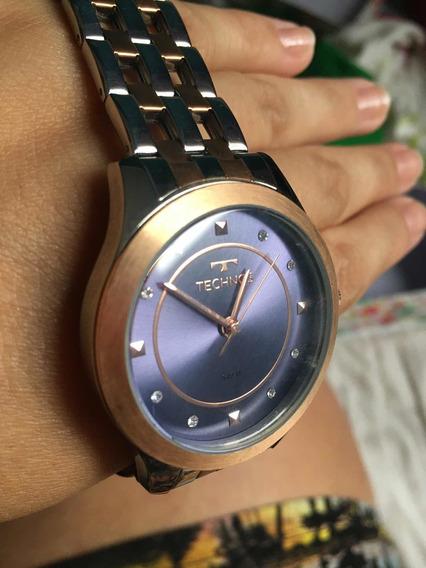 Relógio Technos Prata E Rose Caixa Azul Marinho