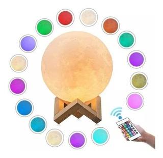 Oferta! Lampara Luna 3d Rgb 12 Cm Usb 16 Colores + Control