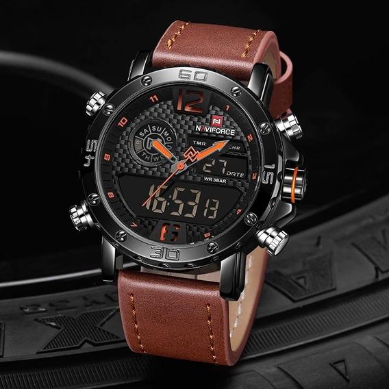Relógio Masculino Naviforce Esportivo Militar Pulseira Couro Original Super Promoção
