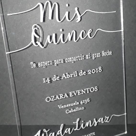 Tarjeta De Invitacion 15 Años Acrilico Souvenirs Cotillón