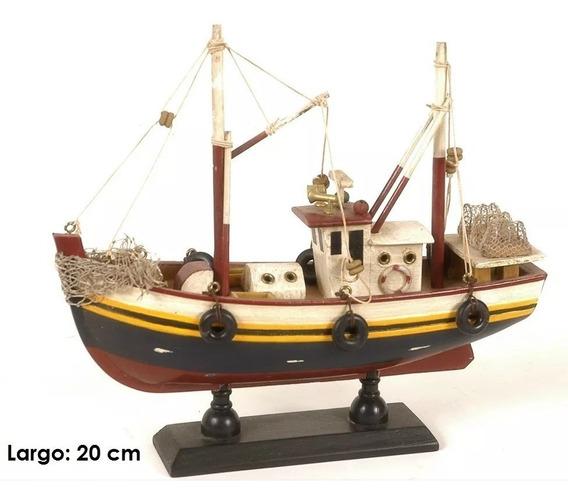 Barco De Madera Pesquero Decorativo De Colección Miniatura