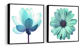 Quadro Decorativo Flores Grandes Tons Azul Fundo Branco Sala