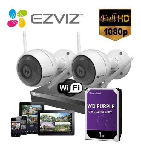 Imagen 1 de 10 de Kit Inalambrico Ezviz Camara Ip 1080p C3w Wifi Luz Audio