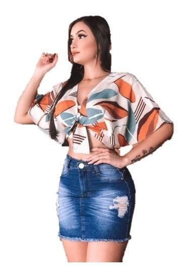 Saia Curta Jeans Feminina Cintura Media Laycra - Premium