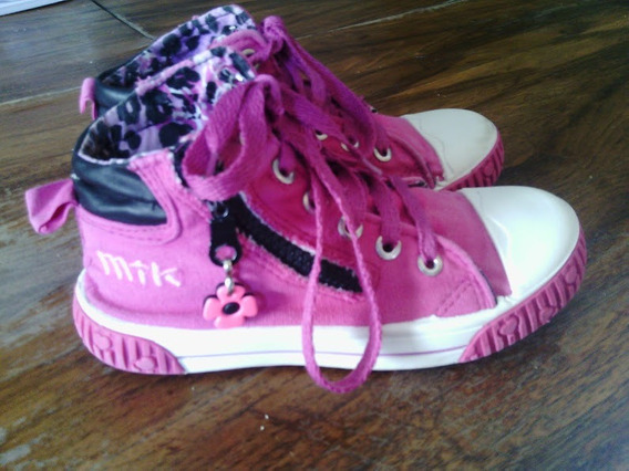 Zapatillas Botitas Lona N 32 Impecables Color Fucsia Nena