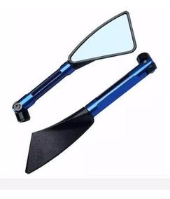 Retrovisor Esportivo Tipo Rizoma Azul Cnc Preimeira Linha
