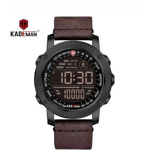 Relógio Digital Pulseira Em Couro Original A Prova D