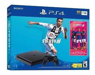 Ps4 Consola Play Station 4 Slim 1tb + Juego Fifa 19