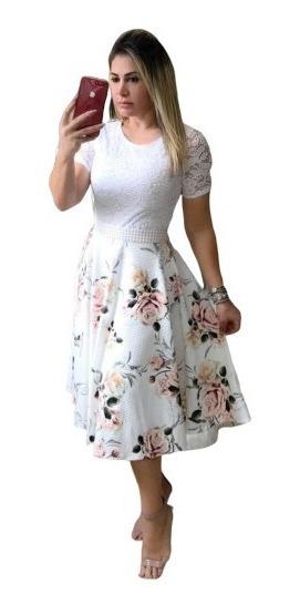 Vestido Midi Moda Evangélica Godê Duplo Suplex+cinto Perolas