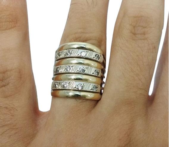 Anel De 7 Elos Aros Prata 950 Com Filetes De Ouro E Pedras