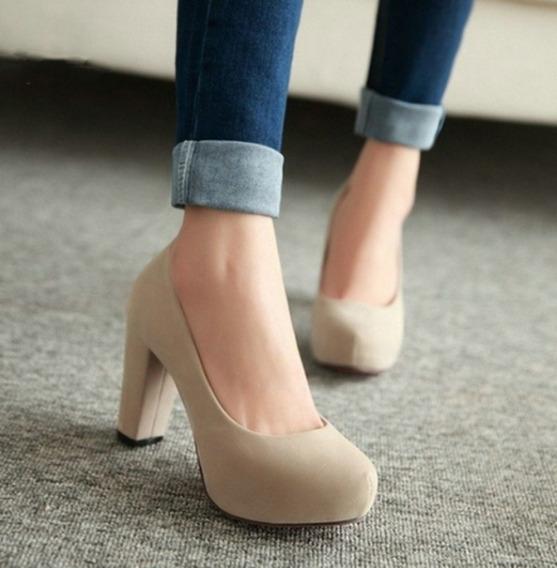Sapato Feminino Importado Salto Grosso Mediano Em Camurça