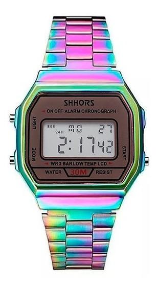 Reloj Digital Clásico Mujer Cronómetro Shhors Rainbow Tornasol Tipo Casio