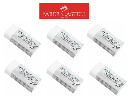 Kit C/6 -borrachas Retangular Branca Dust Free Faber-castell