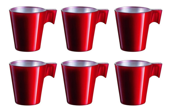 Taza Cafe Luminarc Flashy Longo Red 220cc X6 Unidades