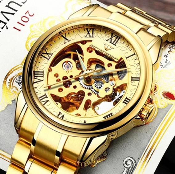 Relógio Masculino Mecânico Automático Skeleton Dourado