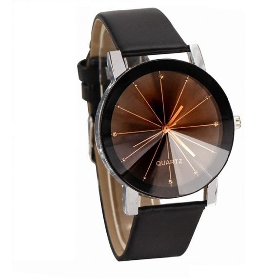Relógio Unissex De Pulso Geneva Strass Couro Promoção