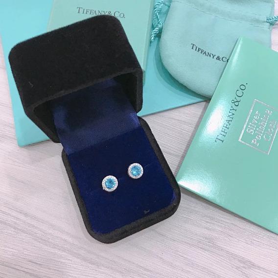 Brinco Tiffany Tiff Pedra Azul Prata C/ Embalagem