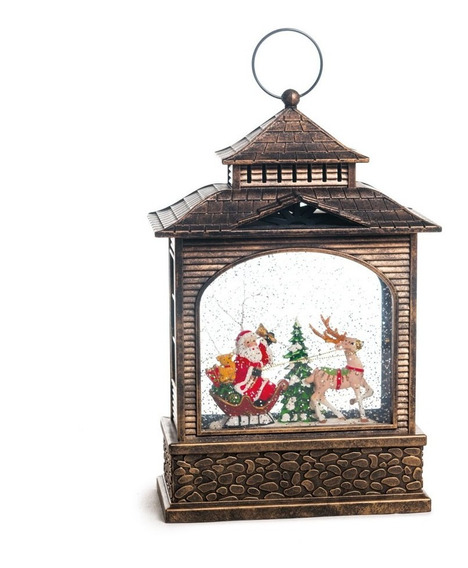Mini Lareira Decoração Natal C/papai Noel 27cm Preto