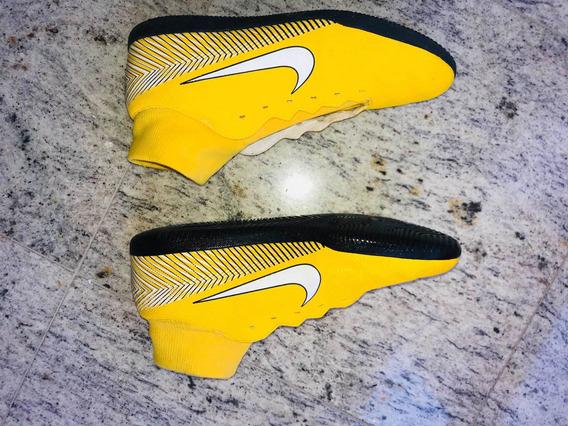 Chuteira Futsal Nike Mercurial Cano Longo Amarela Neymar
