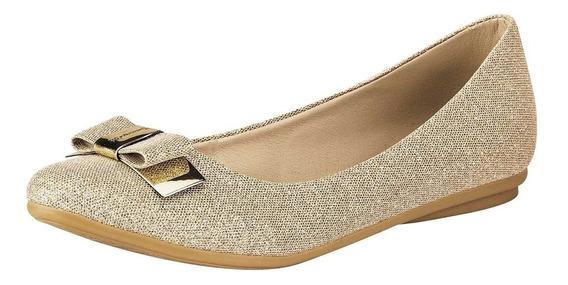 Zapato Flats Dama Miss Pink 4-085 Dorado 22-26 U48423 T2