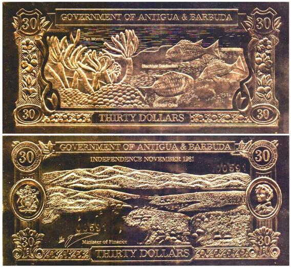 Antigua & Barbuda P-cs3d 30 Dollares 1985 Em Ouro * C O L *
