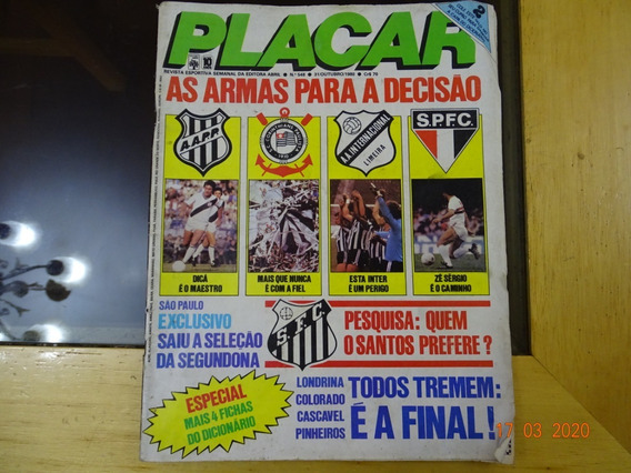 Revista Placar 548 Outubro 1980 Santos São Paulo Inter R479