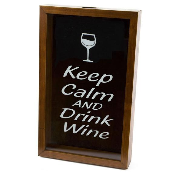 Quadro Porta Rolhas Vinho 32x20 Madeira Keep Calm And Drink