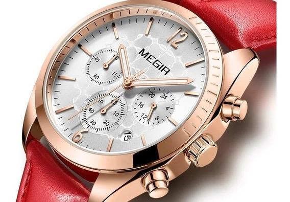 Relógio Feminino Megir Mg2115 Original Couro Data Cronômetro