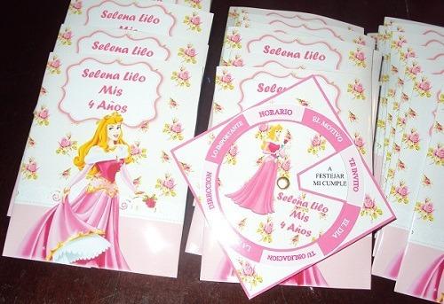 Tarjetas Invitaciones Personalizadas Princesa Aurora X 20