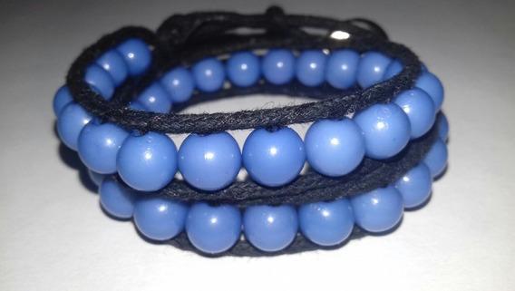 Pulseira Feminina Masculina Preta E Azul 2 Voltas