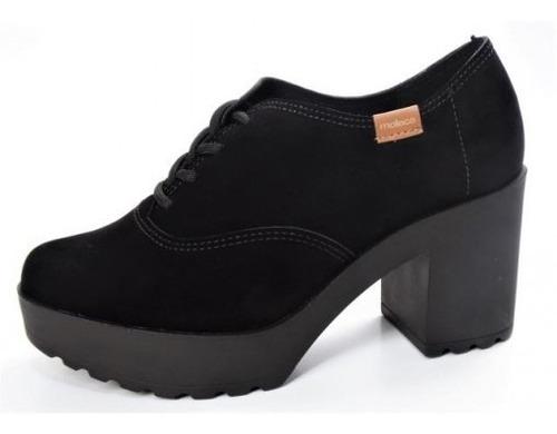 Sapato Oxford Moleca Nobuck Preto Ref. 5647.211