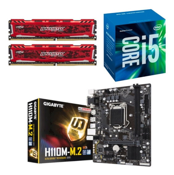 Kit Processador Intel I5 7400 H110m-m2 Bls 2x 8gb 2400mhz