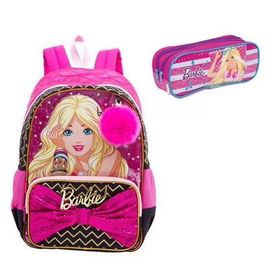 Mochila Infantil Barbie Costas Pingente E Estojo Frete Grát