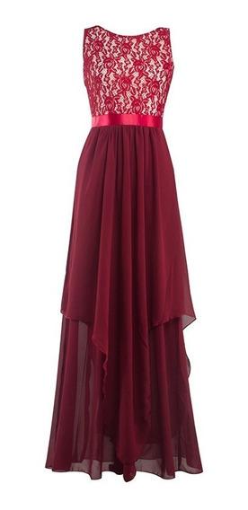Vestido Largo De Gasa De Encaje Sin Espalda Para Dama S-2xl
