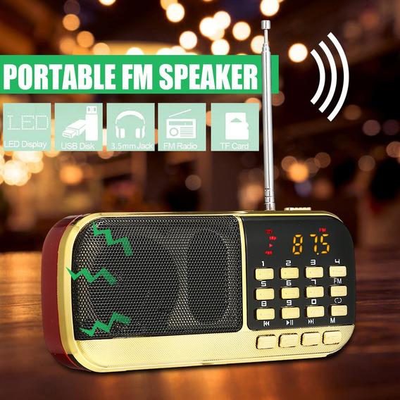 Rádio Portátil Digital Fm Usb Tf Cartão U-disk Fone De Ouvid